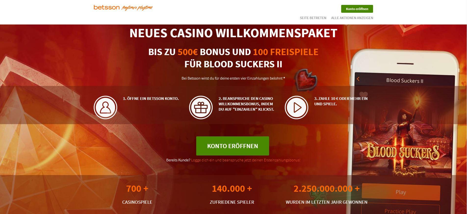 Betsson Casino Bonus Angebot