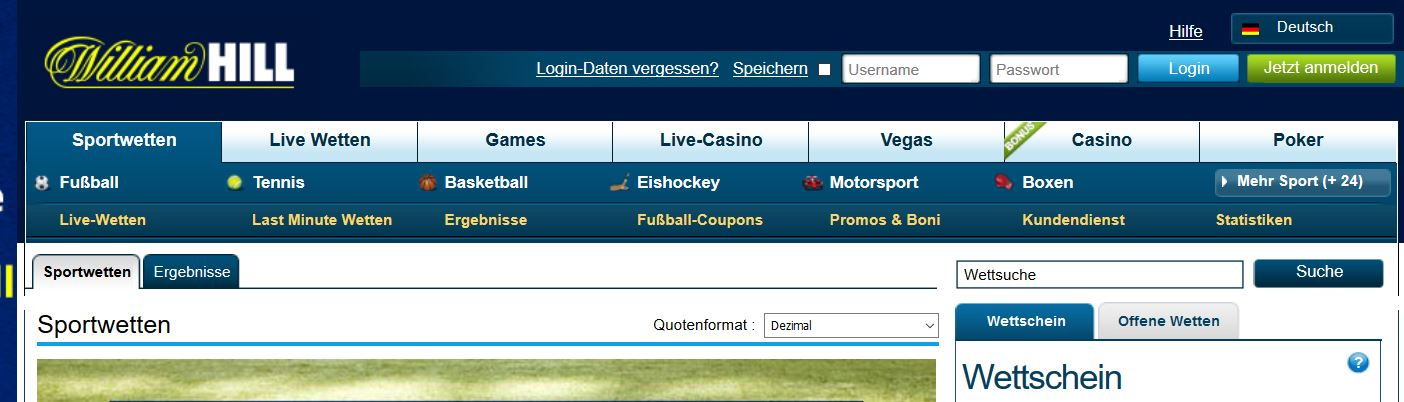 William Hill F25 Promotion für Sportwetten
